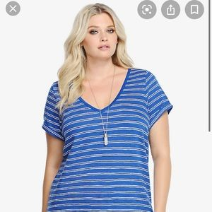 Torrid l Plus Size Blue Striped V Neck T-shirt